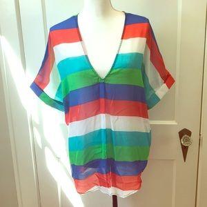 Multi-colored Sheer Top
